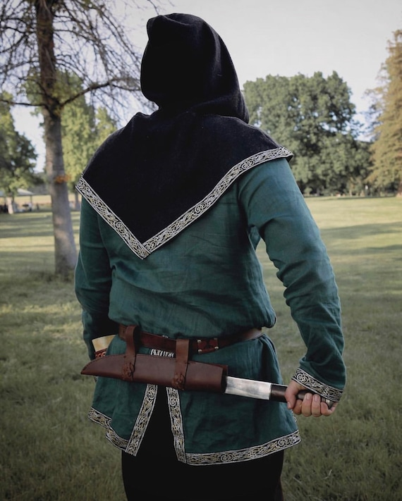 Wool or Linen Viking horseback Tunic with trim. Perfect garb for Norse, SCA and LARP Reenactment