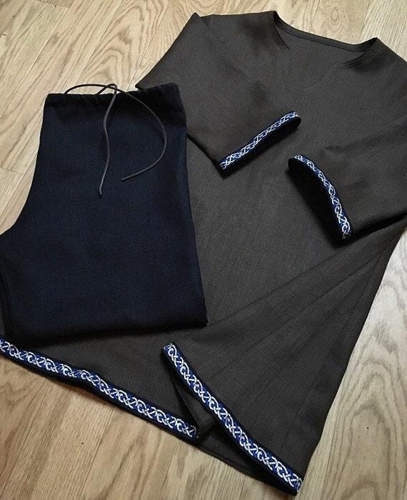 Linen Trousers Pants Tunic Set Viking Garb Drawstring Blue Black Metallic Celtic Knotwork Norse, SCA, LARP, HEMA, Medieval, Reenactment