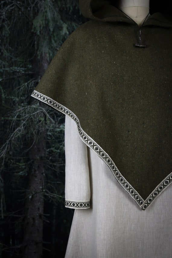 Hooded Shawl Viking Skjoldehamn Hood, Archer, Poncho, Hobbit, Historical, Garb, Norse, SCA, LARP, Witch, Reenactment, Medieval, Renaissance,