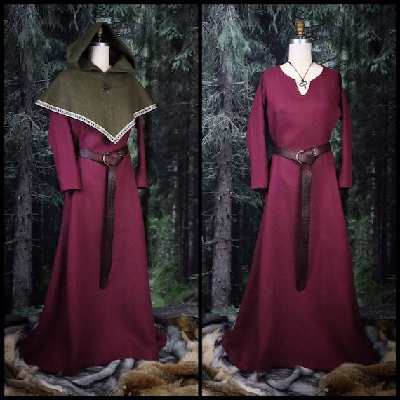 Linen Viking Dress with wide side panels. Perfect garb for Norse, SCA and LARP Reenactment