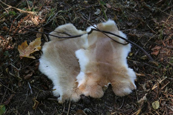 Real Fur Rabbit Pelt, White Beige Natural Cruelty Free, Taxidermy Leather, Viking, Norse, SCA, LARP, Armor, Reenactment, Medieval, Leg Wraps