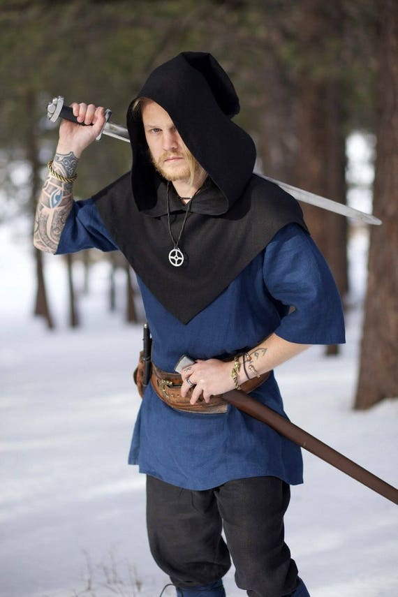 Viking Skjoldehamn Archer Hood. This piece of garb is made of linen. Perfect for Norse and SCA Reenactment
