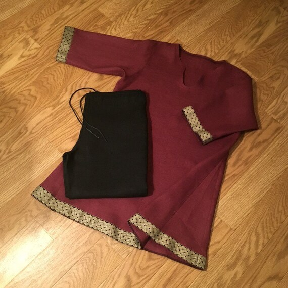 Linen Trousers Pants Tunic Set Viking Garb Drawstring Knotwork Trim Long Sleeves Norse, SCA, LARP, HEMA, Medieval, Renaissance, Reenactment