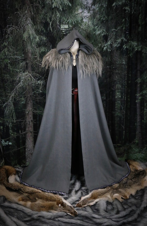 Linen Viking Hooded Cloak with knotwork trim. Perfect garb for Norse, SCA and LARP Reenactment