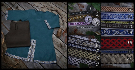 TRIM #14 Linen or Wool Viking horseback Tunic and Trouser set. Tunic had metallic Beastie knotwork trim. Perfect garb for Norse, SCA