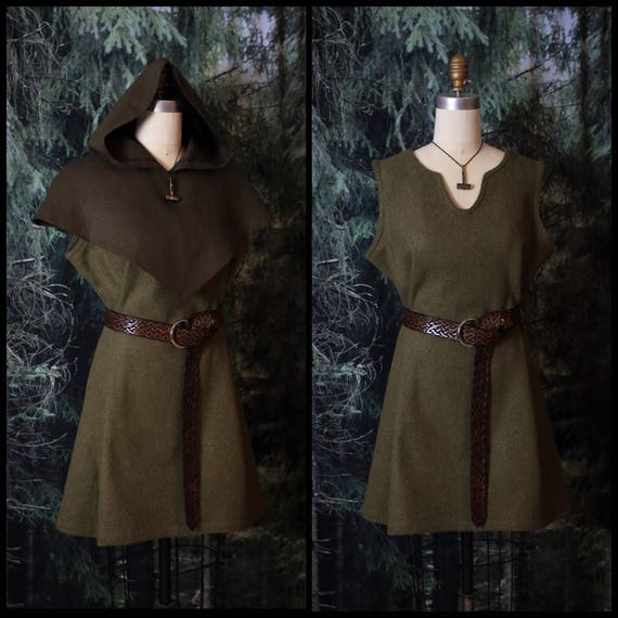 Sleeveless Viking Wool Tunic Wool Celtic Knotwork Trim, Garb, Norse, SCA, LARP, HEMA, Reenactment, Slavic, Medieval, Renaissance Faires