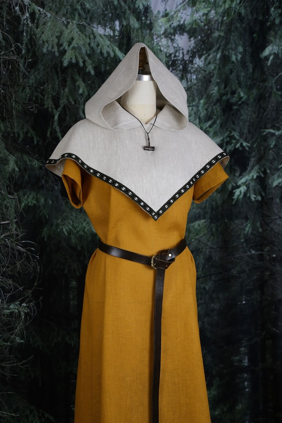 Viking Skjoldehamn Archer Hood, linen or wool garb with trim. Perfect garb for Norse, SCA and LARP Reenactment