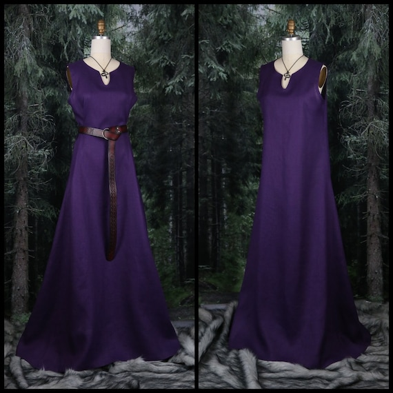 Linen Viking Sleeveless Dress with wide side panels. Perfect garb for Norse, SCA and LARP Reenactment