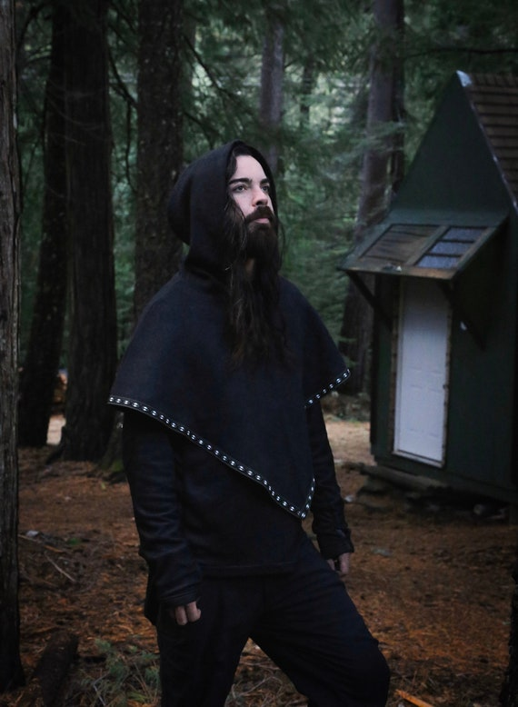 Viking Hooded Shawl Skjoldehamn Hood with trim. Poncho, capelet style. Perfect garb for Norse, SCA and LARP Reenactment