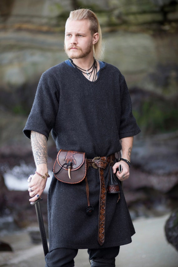 Wool Viking Tunic Garb Heavy Weight, Norse, SCA, HEMA, LARP Comic Con Knotwork Trim Long Sleeves Celtic Slavic Camping Reenactment