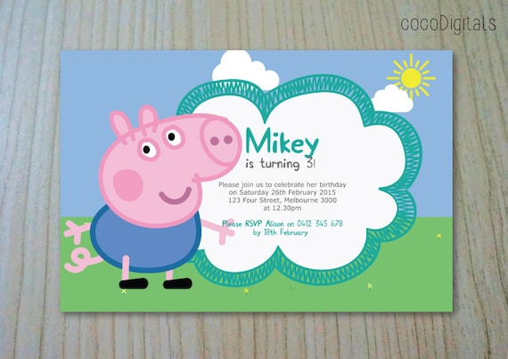 Peppa Pig George Birthday Invitation Custom Personalised Printable Boy Any Age 1st 2nd 3rd 4th 5th Party Supplies