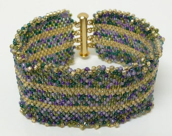 Wide Cuff Peyote Seed Beaded Beadwoven Bracelet of Mixed Green, Blues & Purple Beads with Yellow Stripes OOAK, One of A Kind Jewelry