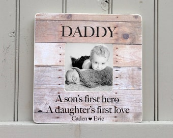 Father's Day Gift Fathers Day Gift Frame, Gift for Dad from son and daughter,  First Fathers Day Personalized Picture Frame, To Dad from Us