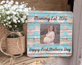 ON SALE Mother's Day Frame  First Mother's Day New Mom Mommy Est 2016  Mommy Est 2017 Personalized Picture Frame
