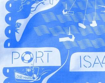 Port Isaac Tea Towel, Beautiful Cobalt blue, craft printed UK on 100% cotton. Port Isaac Harbour of Doc Martin fame
