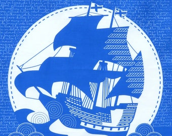 1 Mayflower 400th Anniversary celebration tea towel in gorgeous cobalt blue, 100% cotton craft screen printed in the UK
