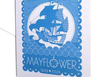set of 6 Mayflower 400th Anniversary celebration greeting card in cobalt blue, designed & printed in the UK