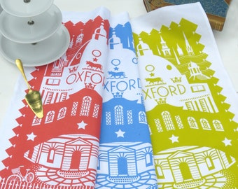 Oxford SALE 2 Tea Towels for 10 - choose from Oxford Blue, Roof Red and Green Mustard