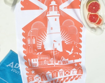 Rainbow in Southwold  SALE  1 Southwold  CORAL tea towel plus 1 other tea towel of your choice. Message me which one !