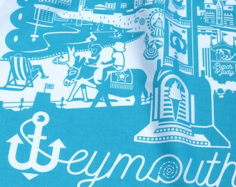 1 Weymouth  tea towel inspired by the Dorset seaside town. 100% cotton, turquoise, with hanging hook