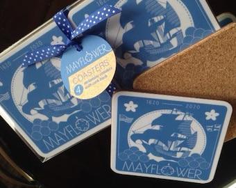 set of 4 Mayflower 400th Anniversary celebration melamine coasters in gorgeous cobalt blue