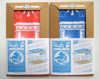 1 Mayflower 400th Anniversary celebration tea towel in flag red, 100% cotton craft screen printed in the UK