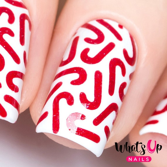 Swirl Candy Cane Christmas Finger Nail Art Stencil Decal Vinyls