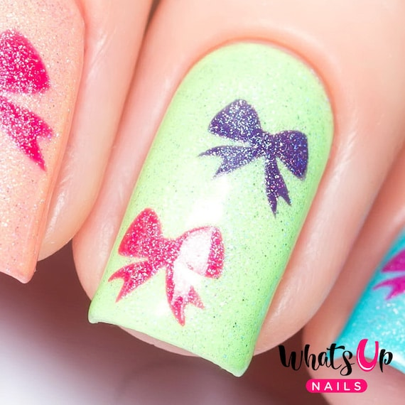 Arco plantillas para uñas pegatinas de proa de uñas Nail