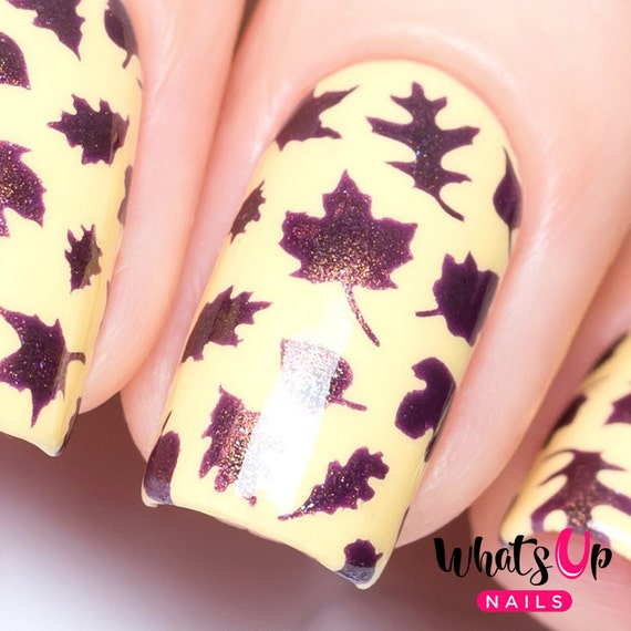 Leaves Stencils For Nails Autumn Fall Thanksgiving Nail Etsy