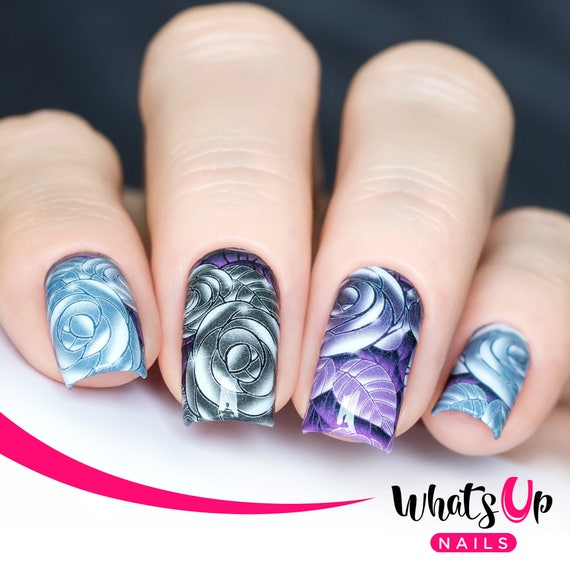 P080 Edgy Roses Water Decals Sliders For Nail Art Design Etsy