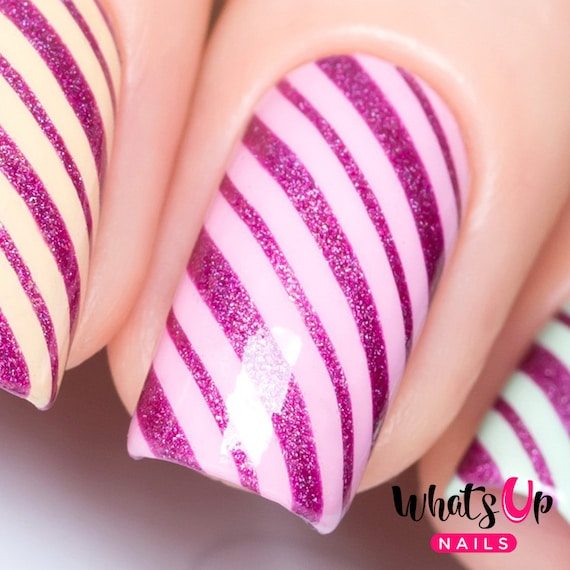 Wrapping Paper Stencils For Nails Candy Cane Christmas Nail Etsy