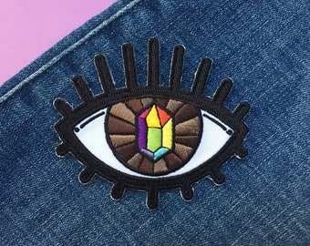 PRIDE VISION [Rainbow Flag] - Iron On Patch - LGBT Gay Queer Pride Crystal All Seeing Eye Magic Witch Art Woven Patch