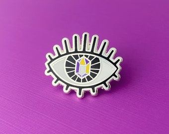 PRIDE VISION [Nonbinary Flag] - Hard Enamel Lapel Pin - LGBT Transgender Queer Pride Crystal All Seeing Eye Magic Witch Accessory