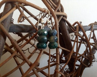 Faceted Green Moss Agate & Sterling Silver Earrings