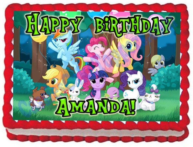 My Little Pony 1 4 Sheet Edible Photo Birthday Cake Topper