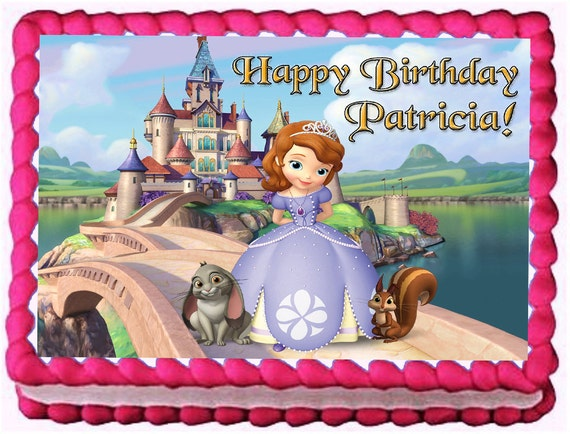 Phenomenal Sofia The First 1 4 Sheet Edible Photo Birthday Cake Topper Etsy Personalised Birthday Cards Cominlily Jamesorg