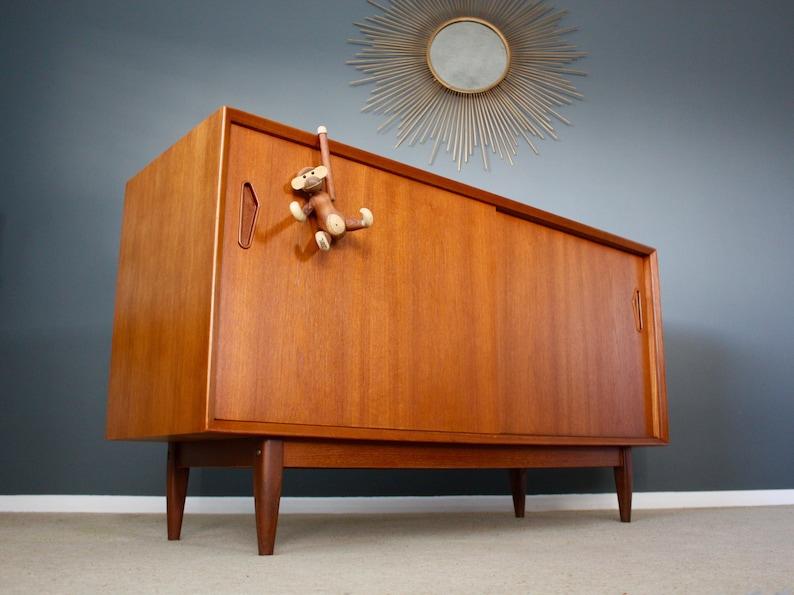 Sold Stunning Danish Mid Century Teak Sideboard Cabinet Retro Etsy