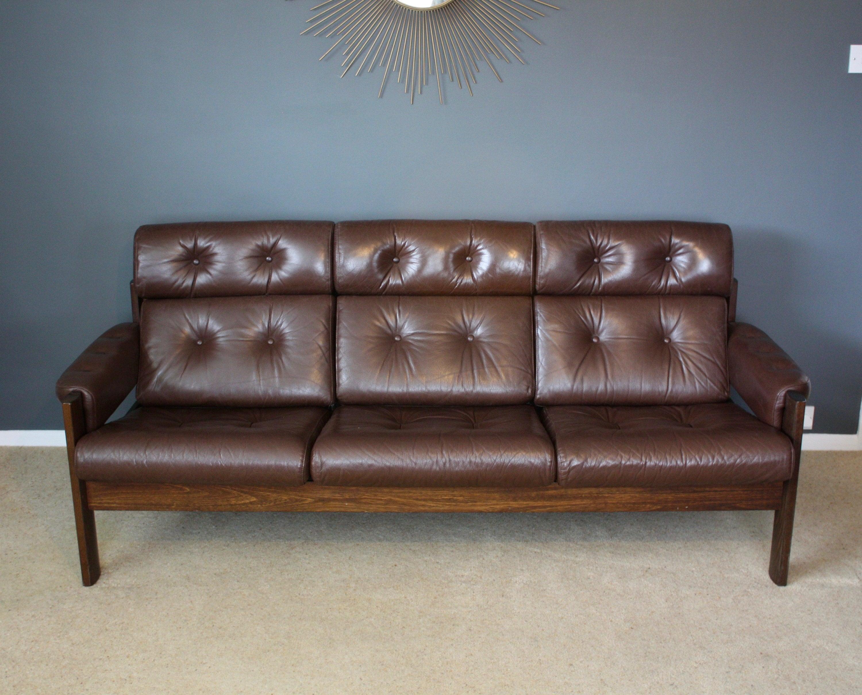 SOLD: Vintage Scandinavian Ekornes Leather 3 Seater Sofa Mid Century Retro  50s 60s 70s