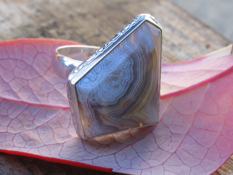 Laguna Lace agate ring in sterling silver