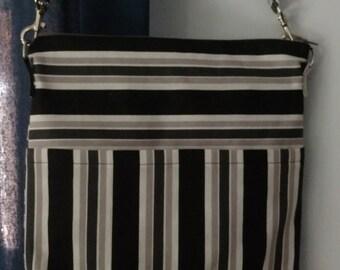 Handbag, Cross Body Bag, Black and White Striped Purse, Shoulder Bag, Purse, Everyday Purse, Black and White Striped Shoulder Bag