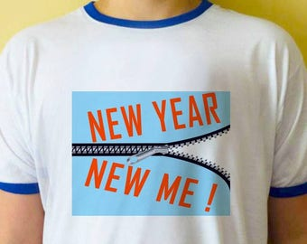 b7e60f911 New Year New Me saying ringer t-shirt, t-shirt with rings , T-Shirts with  Sayings, Unisex T-Shirts, blue ringer tees, custom design t-shirt