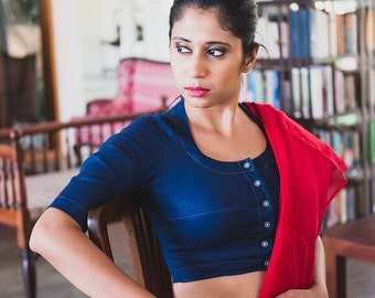 061e20ce9d45a4 Midnight Blue Linen Blouse / Linen crop top / Katori blouse
