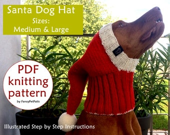 Santa Dog Hat PATTERN  Christmas Dog Hat Pattern   How To Knit Dog Hat    DIY Knit Dog Hat ced9fe6c67b