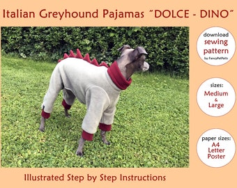 ed86a2265 DOWNLOAD SEWING PATTERN / Italian Greyhound Dinosaur Pajamas - sizes Medium  and Large / Paper sizes: A4 - Letter – Poster