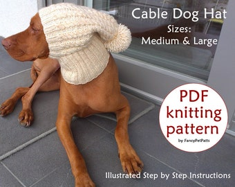 Dog Hat Knit PATTERN   Cable Dog Hat Knit PATTERN   Beanie Dog Hat Knit  Pattern   sizes M and L Dog Hat Knit Pattern ee9eac53fb5