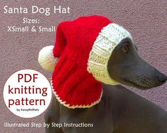 Santa Dog Hat PATTERN   Christmas Dog Hat Pattern   Greyhound Hat Pattern    DIY Knit Dog Hat   How To Knit Dog Hat 6da9b94f58b
