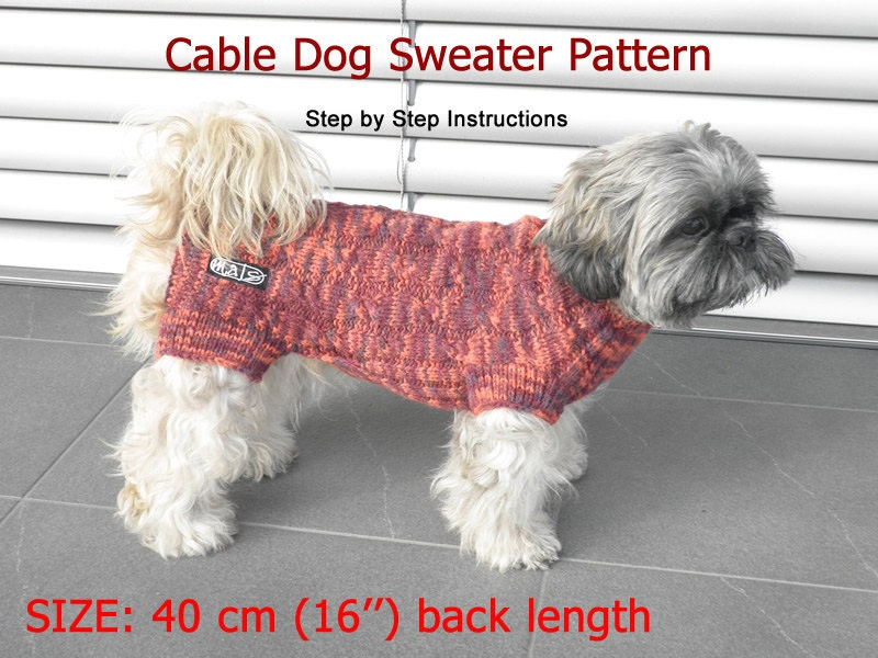 Dog Sweater Pattern - 40 cm (16\'\') back length/ DIY Dog Sweater ...