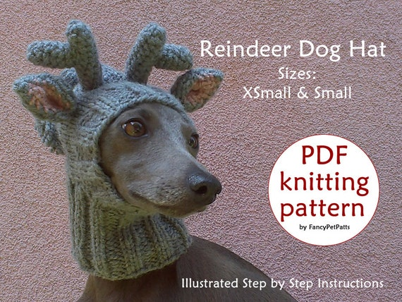 Reindeer Dog Hat Knitting PATTERN   Christmas Dog Hat Knitting ... 047542484e6