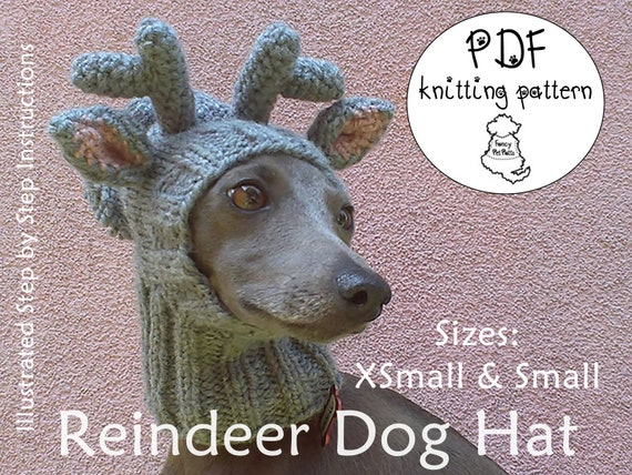 Reindeer Dog Hat Knitting Pattern Christmas Dog Hat Knitting