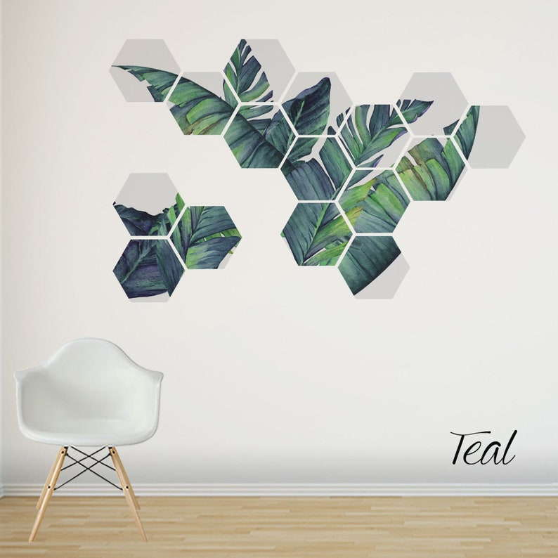 Banana Leaves Art Tropical Wall Decal Removable Wall Stickers Birthday present for family and friends